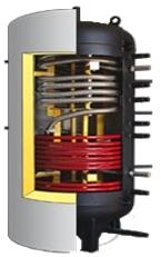 Akumulācijas tvertne ar karstā ūdens sagatavi un otra siltumnesēja spirāli